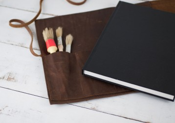 Leather Bound Sketchbook Case - comes with hardbound sketchbook - handmade by Blue Sky Papers