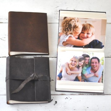 Leather Mini Photo Books - 2 styles soft or wrap & flap - handmade by Blue Sky Papers