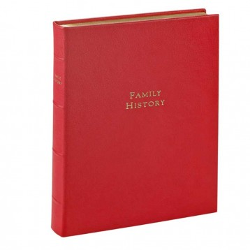 Leather Family History Book- Genuine Red Goatskin- from Blue Sky Papers