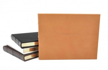 library bound leather guest books