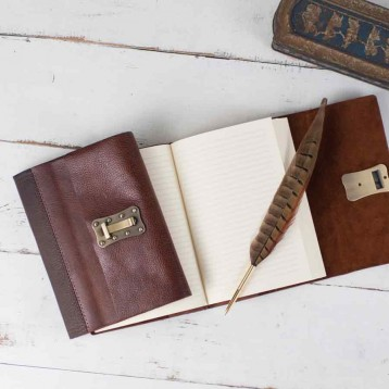 Modern Lock Diary - genuine leather cover with lined pages - from Blue Sky Papers