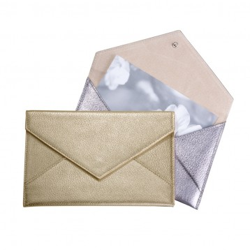 Leather Photo Wallet - Metallic Gold and Silver Leather- from Blue Sky Papers