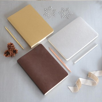Metallic Leather Notebook - famous Ciak Journals - Blue Sky Papers
