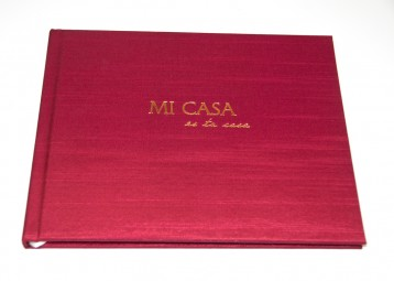 Mi Casa Home Guest Book - Wine Satin with Gold - by Blue Sky Papers