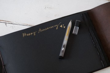 Moleskine Metallic Pens - Gold Ink Pen writes well on black pages