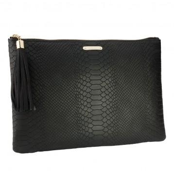 Python Leather Clutch - Black