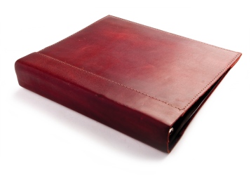Rustic Leather Binder Cover - Burgundy Leather