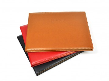 Padded Leather Guest Books - made in Italy by Fiorentina, from Blue Sky Papers