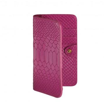 Leather Mini Phone Wallet - Fuschia