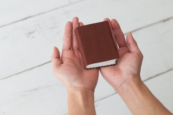 Our leather mini journal fits in the palm of your hand!