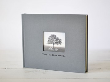 Guest Book with Photo Frame on the Cover - slate gray linen