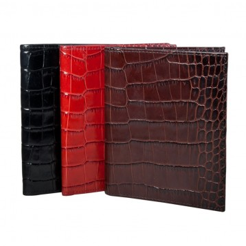 Leather Passport Wallet - Black Croco, Red Croco, Brown Croco - Blue Sky Papers