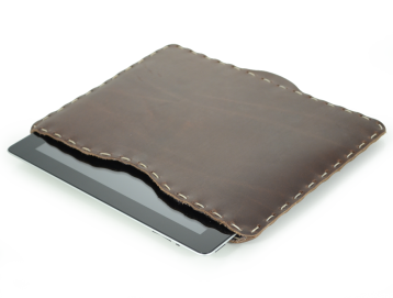 Rustic Hand Sewn iPad Sleeve - Dark Brown