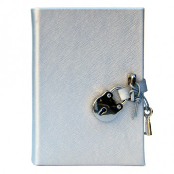 Silver Leatherette Padlock Diary