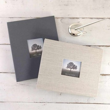 Post-bound Guest Book - Vertical or horizontal orientation, with optional photo frame cover - by Blue Sky Papers