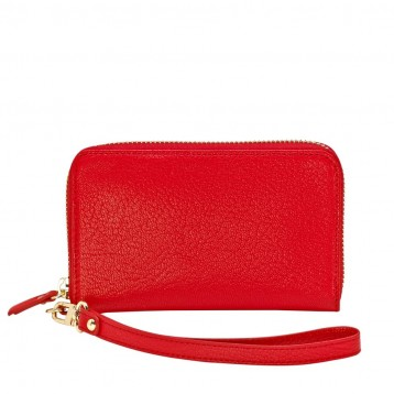 Leather Wristlet Wallet - Red