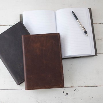 Refillable Leather Journal - handmade by Blue Sky Papers