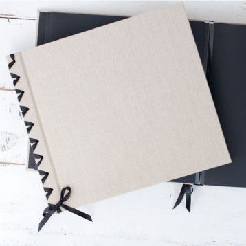 Ribbon-Laced Album, Black Pages - shown in Natural Linen with Black Satin Ribbon - Blue Sky Papers