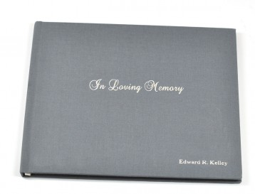 Personalized In Loving Memory Memorial Sign-in Book - Slate with Silver embossing