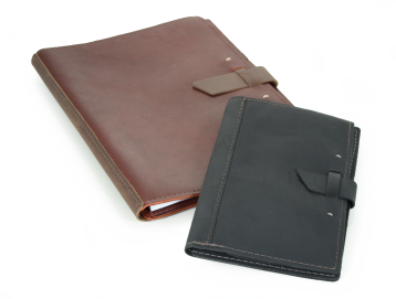 Rustic Leather Pad Portfolio - Dark Brown Leather & Black Leather
