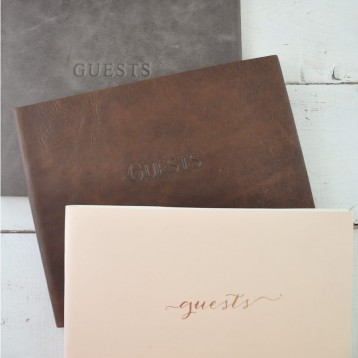 Soft Leather Guest Book from Blue Sky Papers - Close up of Guest Options