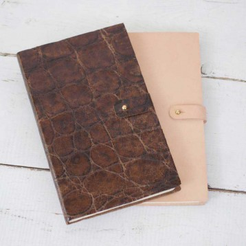 Travelers Notebook - natural nude & rustic crocodile leather - by Blue Sky Papers