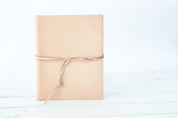Leather Book with Tri-Leather Strap - snow leather custom book with tri-leather strap closure - by Blue Sky Papers