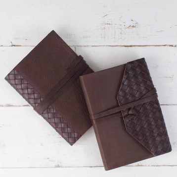 Quilted Leather Journal from Blue Sky Papers
