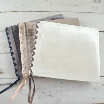 Velvet Ribbon-Laced Album- white velvet on top - by Blue Sky Papers