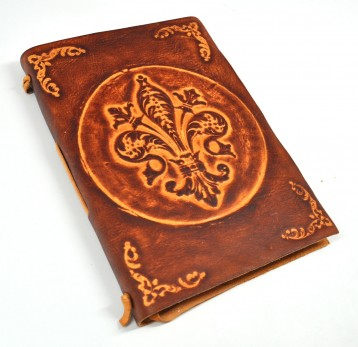 Fleur-de-Lis Leather Journal Front Cover