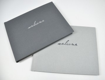 House Guest Book - welcome home guest book - slate grey (embossed with silver) & stone linen (embossed with grey)