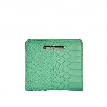 Leather Folding Wallet - Mint Python