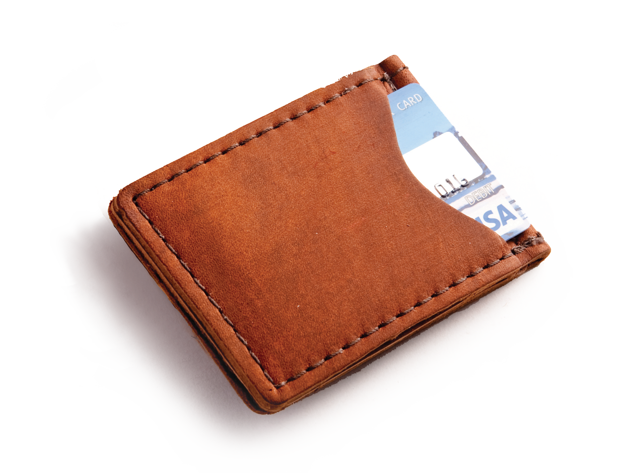 Rustic leather money clip in choice of high quality leather by blue
