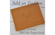 Add an Emblem - Antlers in Blind on the Library Bound Leather Guest Book - by Blue Sky Papers