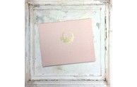 Vintage Wreath Guest Book- Luminous Blush silk dupioni with a hand-embossed gold floral wreath- by Blue Sky Papers
