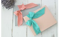 Silk Dupioni Bow Custom Book- Light Gray linen & Armour, Blush silk & Aegean- by Blue Sky Papers