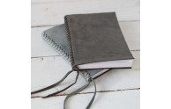 Braided Leather Spine Journal - slate nubuck (on bottom) and charcoal nubuck