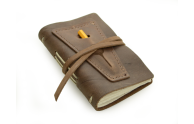 Rustic Leather Golf Log w/ Pocket - Dark Brown