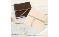 Leather Brag Mini Album - Almost Black w/Camel Velvet & Snow Leather w/Light Tan Velvet - by Blue Sky Papers