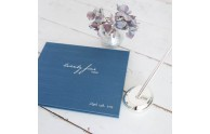 Twenty Five Years Guest Book - Teal satin with Silver - by Blue Sky Papers