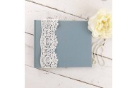 French Lace Custom Book - Steel Blue linen, guest book - Blue Sky Papers