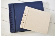 Fresh Ribbon Bound Guest Album- Natural linen and Navy satin-  from Blue Sky Papers