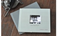 Life Celebration Memorial Book - Personalize in Pewter on Sea Satin