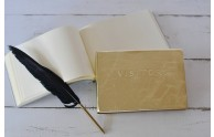 Gold Leather Visitors Book with Quill Pen