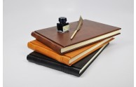 italian leather guest book - black, honey & dark brown