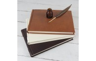 Italian Leather Guest Book - dark brown, off white, honey -  from Blue Sky Papers