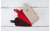 Leather Luggage Tags - Crocodile, Red Leather, and Metallic White Gold