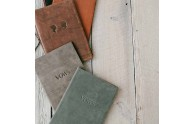 Leather Vow Books - Top to bottom: Almost Black, Honey, Rustic, Bomber, Slate - Blue Sky Papers