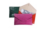 Leather Photo Wallet - Crocodile Embossed Leather