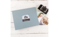 Post-bound Photo Album - Shown in Steel Blue linen, horizontal/landscape orientation - by Blue Sky Papers